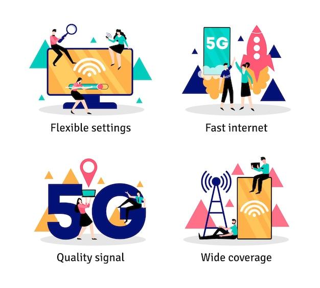 Set van vier 5g internetcomposities