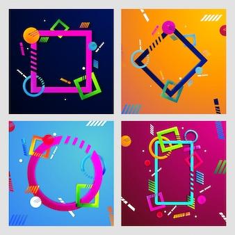 Set van vier abstracte geometrische achtergronden.