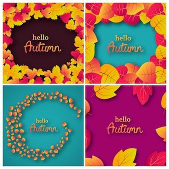 Set van vier achtergronden met herfstbladeren en plaats voor uw tekst. kaartontwerp voor het spandoek of de poster van het herfstseizoen. vector illustratie