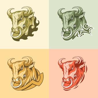 Set van vier afbeeldingen stier op verschillende achtergronden.