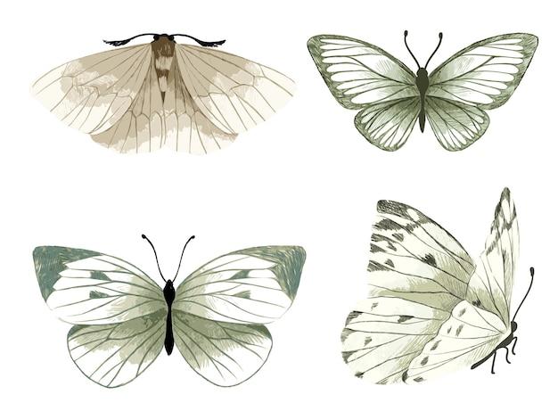 Set van vier aquarel vlinders, tedere pastelkleuren, hand getrokken aquarel illustratie.