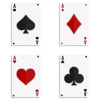 Set van vier azen kaarten