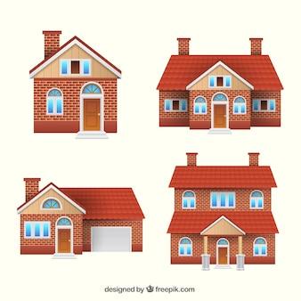 Set van vier bakstenen huizen