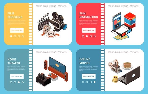 Set van vier bioscoop isometrische horizontale banners