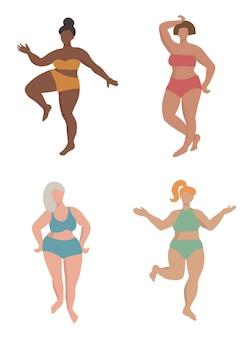 Set van vier bochtige vrouwelijke silhouetten hand getrokken platte ontwerp vectorillustratie