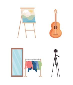 Set van vier creatieve set iconen