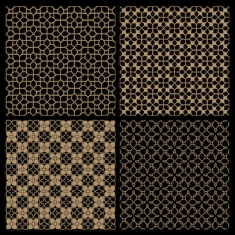 Set van vier donkere naadloze bloempatronen in oosterse stijl