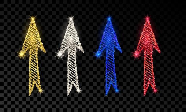 Set van vier doodle handgetekende pijlen met goud, zilver, blauw en rood glittereffect op donkere transparante achtergrond. vector illustratie
