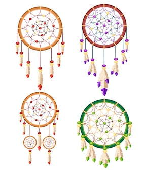 Set van vier dreamcatcher boho native american indian talisman. tribal. magisch item met veren. modieuze stijltalisman. illustratie op witte achtergrond