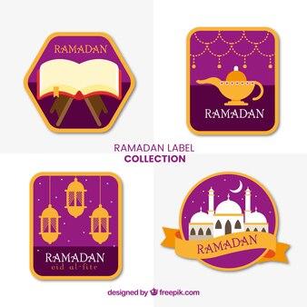Set van vier elegante ramadan-labels