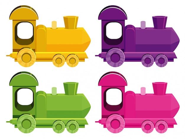 Set van vier foto's van treinen in verschillende kleuren