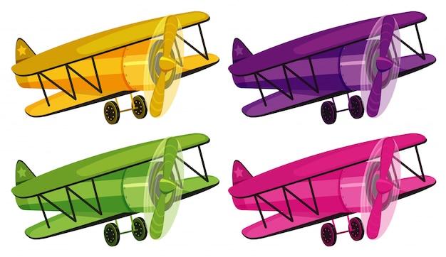 Set van vier foto's van vliegtuigen in verschillende kleuren