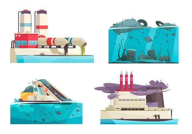 Set van vier geïsoleerde natuur- en watervervuilingscomposities met doodle menselijke karakters en afvalillustratie