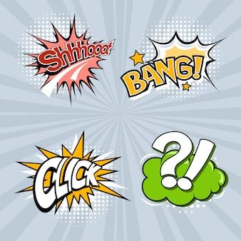 Set van vier gekleurde tekstballonnen op een grijze achtergrond.