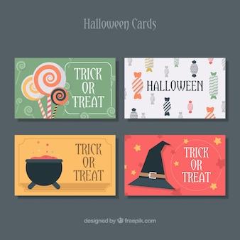 Set van vier halloween kaarten in plat ontwerp