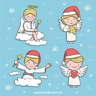 Set van vier handgetekende engelen