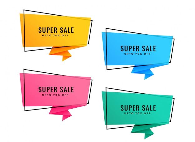 Set van vier heldere kleurrijke origami verkoop banners