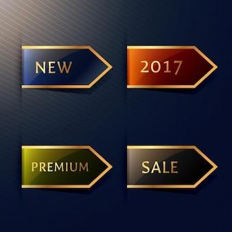 Set van vier hoek labels in gouden stijl