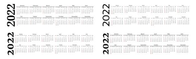 Set van vier horizontale kalenders voor 2022 geïsoleerd op een witte achtergrond. zondag tot maandag, zakelijke sjabloon. vector illustratie