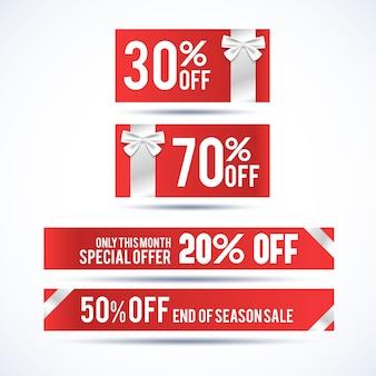 Set van vier horizontale kerstkortingsbanners met informatie over speciale aanbieding alleen deze maand