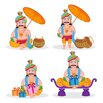 Set van vier indiase onam stripfiguur van koning mahabali.