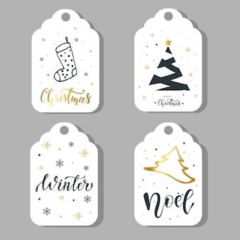 Set van vier kerst labels, stickers ontwerp