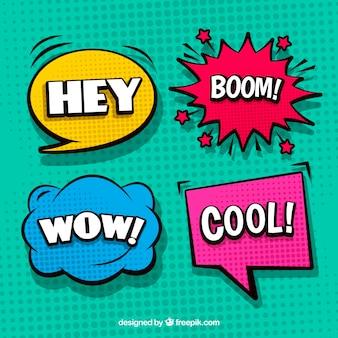 Set van vier kleurrijke comic speech bubbles