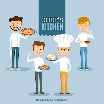 Set van vier lachende koks