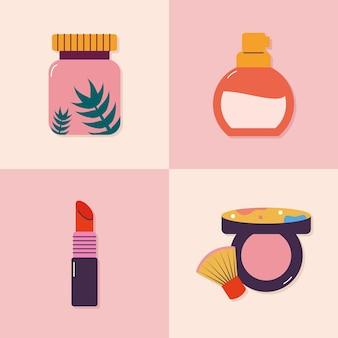 Set van vier make-up iconen