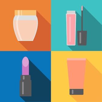 Set van vier make-up items in vlakke stijl met schaduw. vector illustratie.