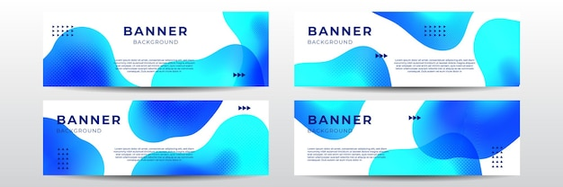 Set van vier moderne web wave banner achtergrond in blauwe kleur voor de kleurovergang