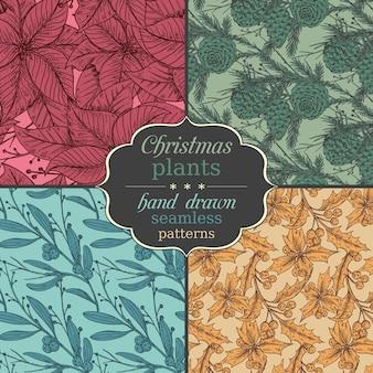 Set van vier naadloze patronen met hand getrokken winterplanten.