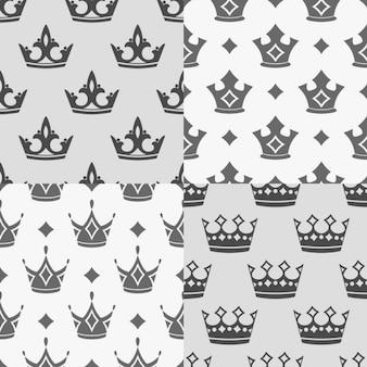 Set van vier naadloze patronen met kronen