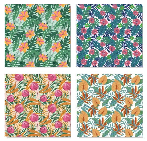 Set van vier naadloze patronen met tropische bladeren en bloemen