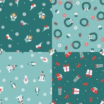 Set van vier naadloze patronen van kerstmis