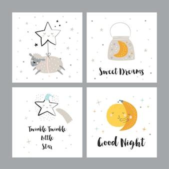 Set van vier nachtkaarten met schattige stripfiguren en zinnen.