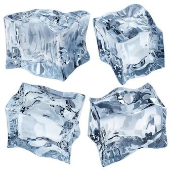 Set van vier ondoorzichtige ijsblokjes in lichtblauwe kleuren