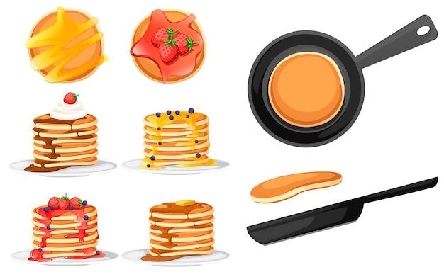 Set van vier pannenkoeken met verschillende toppings. pannekoeken op witte plaat. bakken met stroop of honing. ontbijt concept. luchtige pannenkoek in koekenpan. vlakke afbeelding op witte achtergrond.
