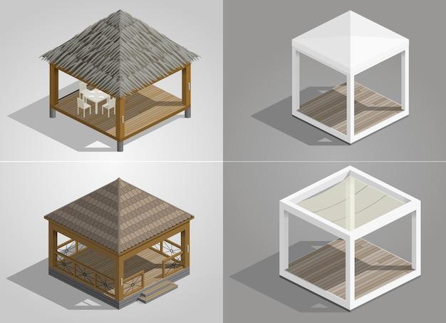 Set van vier paviljoens