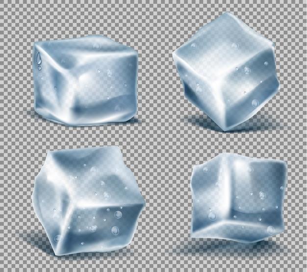 Set van vier realistische blauwe ijsblokjes met waterdruppels, koude, bevroren blokken