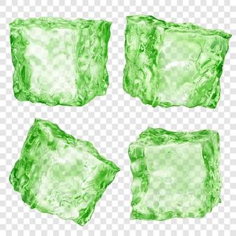 Set van vier realistische doorschijnende ijsblokjes in groene kleur geïsoleerd op transparante achtergrond. transparantie alleen in vectorformaat