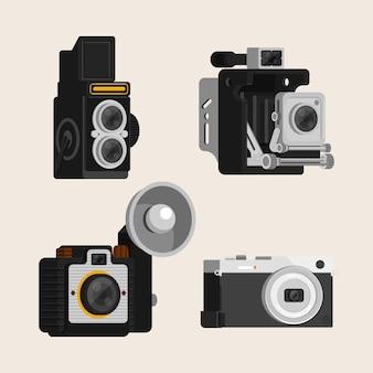 Set van vier retro camera's in vlakke vormgeving
