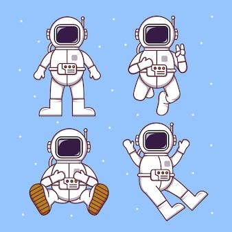 Set van vier schattige astronauten die in ruimteillustratieontwerpen vliegen op lichtblauwe achtergrond met sterren