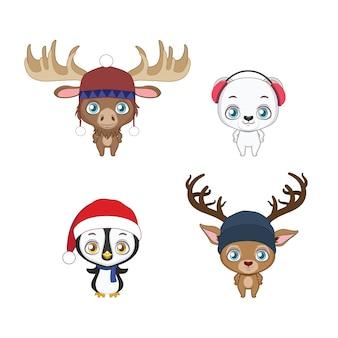 Set van vier schattige winterdieren met winteraccessoires