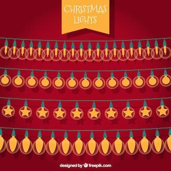 Set van vier snaren met kerstverlichting