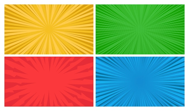 Set van vier stripboekpagina's achtergronden in pop-art stijl met lege ruimte. sjabloon met stralen, stippen en halftone effect textuur. vector illustratie