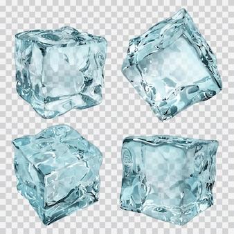 Set van vier transparante ijsblokjes in lichtblauwe kleuren