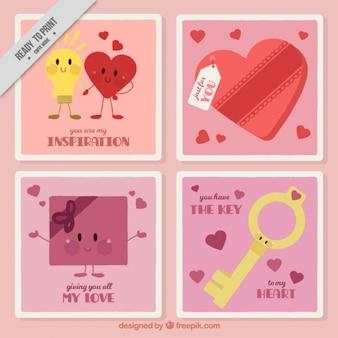 Set van vier valentijn kaarten met schattige personages