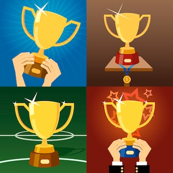 Set van vier vector gouden trofeeën of bekers