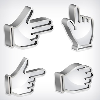 Set van vier vector metallic handtekens